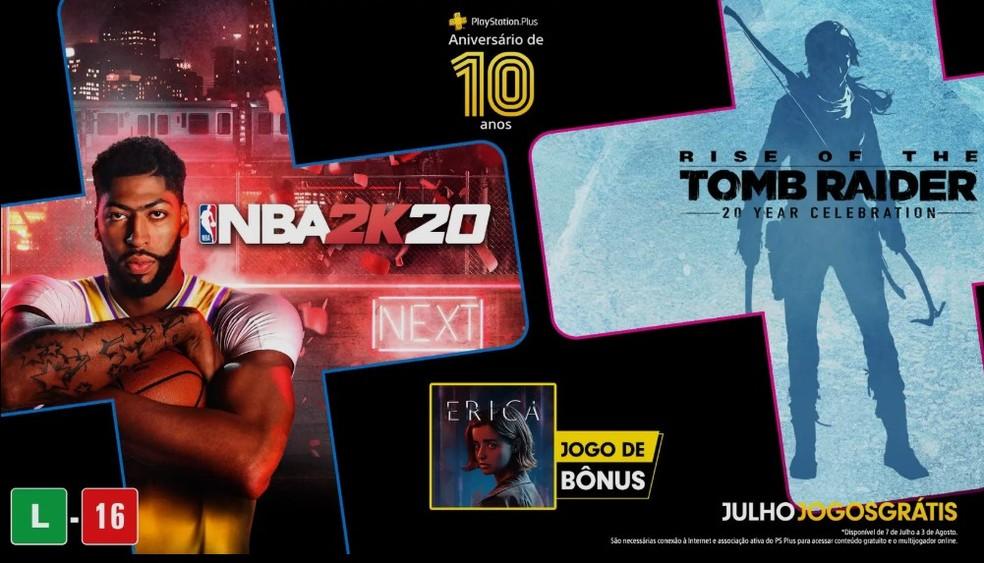 Rise of the Tomb Raider e NBA 2K20 grátis em julho na PS Plus do PS4